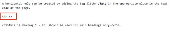 Sample of Horizontal Rule in Text code