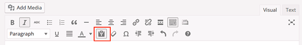 Editing Toolbar with paste as text selected